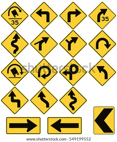 Road signs in the United States. W1 Series: Curves and Turns. Vector Format
