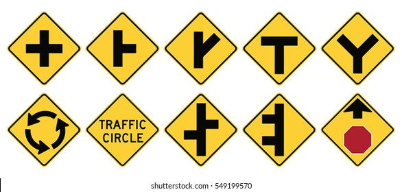 Road signs in the United States. W2 Series: Intersections. Vector Format
