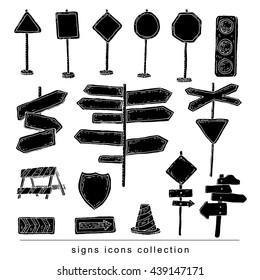 Road signs. Vector illustration. black