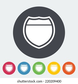 Road. Single flat icon on the circle. Vector illustration.
