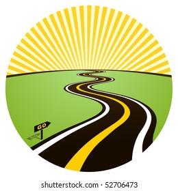 Road to solar horizon. Vector illustration