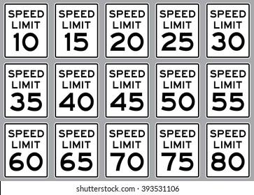 Road speed limit sign set  . Vector illustration