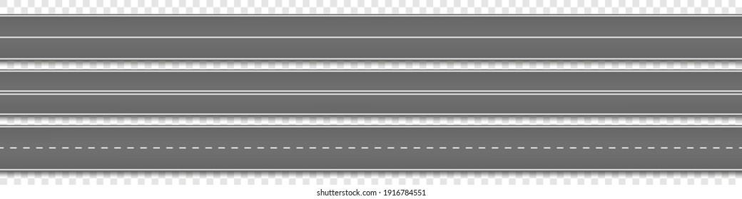 Road, street with asphalt. Straight highway, speedway for motor transport. Vector illustration.