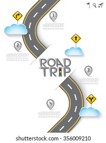 Road & Street with Map Pointer and Icon Set, Travel Concept, Vector EPS10.