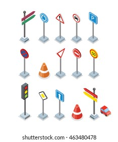 Road and street signs set isolated. Collection of road rule signs. Symbols for traffic regulation. Warnings billboards icons. Board design. Part of series of city isometric. Vector illustration