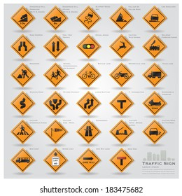 Road And Street Warning Traffic Sign Icons Set Design