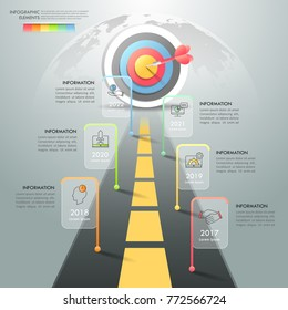 Road to success infographic template 6 options. Business concept can be used for workflow layout, diagram, number options, timeline, steps, demo infographic