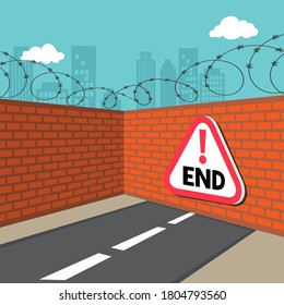 Road that leads to dead end with dead end sign on wall, illustration vector cartoo