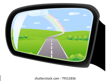 The road through the fields under the rainbow, is reflected in car side rear view mirror