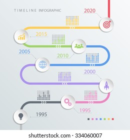 Road timeline infographic design template with color icons. Vector illustration for workflow layout, diagram, number options, web design.