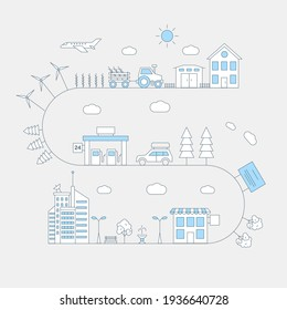 Road from town to village vector flat line illustration. Winding route with city buildings, park, gasoline fuel station, car with baggage on the roof, forest, tractor and suburban house.