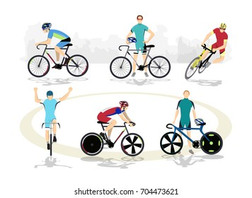 Road and track cycling sport set on white background.