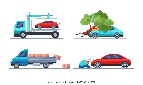 Road traffic accident. Car damaged vehicle transportation. Tow truck takes the car. Cargo spilled out of car. Collision hitting an man. Auto accident, motor vehicle crash cartoon vector