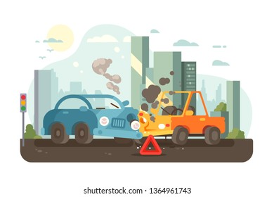 Road traffic accident scene vector illustration. Car collision and radiator smoking. Auto standing with warning triangle sign. Crash in city road flat style concept. Urban landscape on background