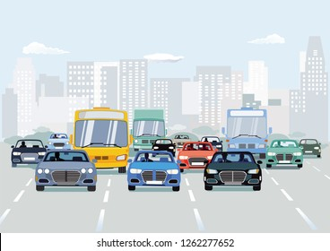 Road traffic with cars on urban street