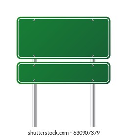 Road traffic green sign,board with place for text.Vector illustration.