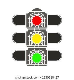 road traffic light isolated vector - semaphore traffic illustration sign . road direction sign symbol
