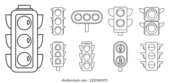 Road traffic lights icon set. Outline set of road traffic lights vector icons for web design isolated on white background