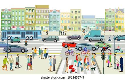 Road traffic with people on the sidewalk illustration