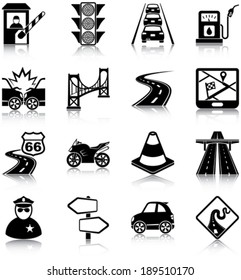 Road traffic related icons/ silhouettes
