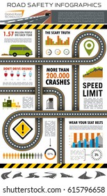 Road and traffic safety infographic template. Highway with road sign and map pointers, bar graph and pie chart of crash and accident statistics with icons of card, freeway and roadway