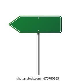 Road traffic sign. Blank board with place for text.Mockup. Isolated information sign. Direction. Vector illustration.White background.