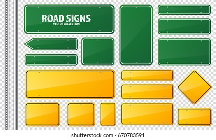 Road traffic sign. Blank board with place for text.Mockup. Isolated information sign. Direction. Vector illustration.Transparent background.