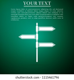 Road traffic sign. Signpost icon isolated on green background. Pointer symbol. Blank board with place for text. Isolated street information sign. Direction sign. Flat design. Vector Illustration