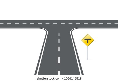 Road with traffic sign t-intersection. Element for design