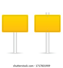 road traffic sign in yellow set illustration on white background