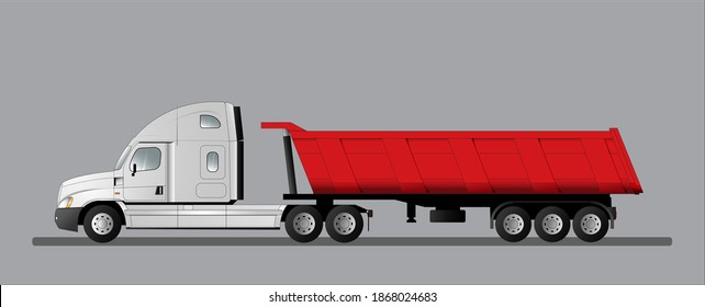 Road train with an American tractor and a 3-axle dump semi-trailer. Truck for delivering goods to a construction site. Vector illustration