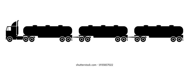 Road train icon. Truck tractor unit with several semi-trailers. Black silhouette. Side view. Vector simple flat graphic illustration. The isolated object on a white background. Isolate.
