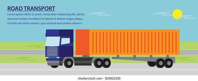 Road transport flat design logistic services highway banner