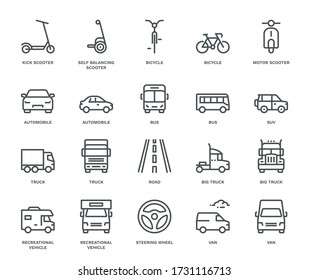 Road Transport Icons, Mix View.  Monoline concept The icons were created on a 48x48 pixel aligned, perfect grid providing a clean and crisp appearance. Adjustable stroke weight.