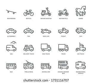 Road Transport Icons, Side View. Monoline concept The icons were created on a 48x48 pixel aligned, perfect grid providing a clean and crisp appearance. Adjustable stroke weight.