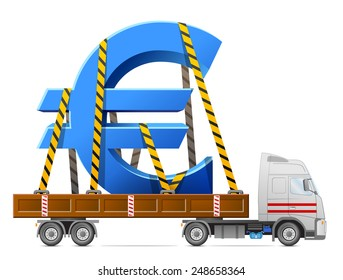 Road transportation of euro symbol. Big sign of money in back of truck. Qualitative vector illustration for banking, financial industry, money, economy, accounting, etc