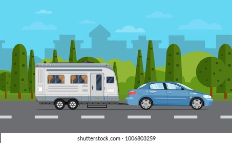 Road travel poster with car and camping trailer on countryside background. RV trailer caravan, compact motorhome, mobile home for country traveling and outdoor family vacation vector illustration.