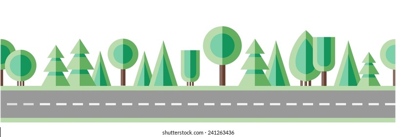 Road and trees. Flat design. Seamless border. Vector.