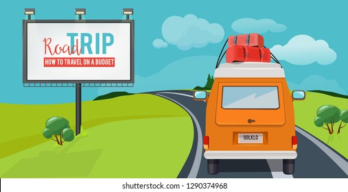 Road trip. Adventure concept with vacation travel driving car on highway vector urban landscape cartoon