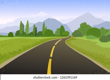 Road trip flat hand drawn vector illustration. Cartoon mountains, forest landscape, highway. Horizon with asphalt winding road, trees, sky. Summer travel, trip background. Poster, banner design idea