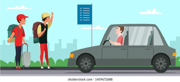 Road trip, hitchhiking flat vector illustration. Friends, teenagers with luggage cartoon characters. Young tourists catching ride, hitchhiker with backpacks stop car. Holidays adventure, tourism