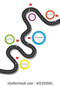 Road trip and Journey route. Business and Journey Infographic Design Template with flags and place for your data. Winding road on a colorful background. Stylish streamers. Vector EPS 10