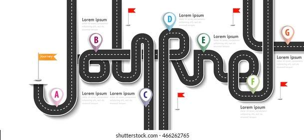 Road trip and Journey route. Business and Journey Infographic Design Template with flags and place for your data. Winding roads on a white background. Vector EPS 10