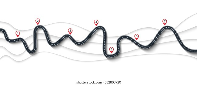 Road trip and Journey route. Winding Road on a white background with Pin Pointer. Vector EPS 10