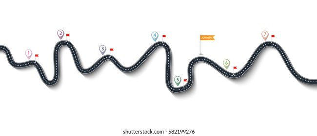 Road trip and Journey route. Winding Road on a White Isolated Background with Flags and Pin Pointers. Vector EPS 10