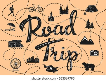 road trip poster with a stylized map with point of interests and sightseeing for travelers like city, old castle, monastery, fan fair, beach, sea, forest, mountain in black and white color