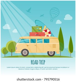 Road trip, surf camp concept banner. Flat style vector illustration for your design