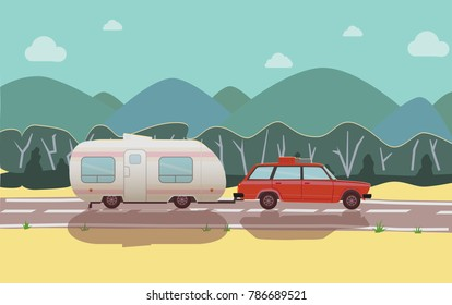 Road trip. Time to travel banner with car, mountains,  Trailering, Camping, outdoor recreation, adventures in nature, vacation. Modern flat design