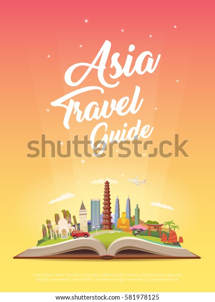 Road trip. Tourism. Open book with landmarks. Asia Travel Guide. Advertising web illustration. Summer vacation. Modern flat design. EPS 10. #2
