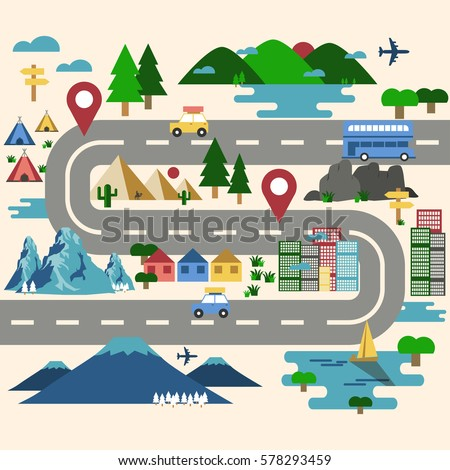 road trip travel route map landmark stock vector royalty free